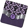 """Rikki Knight """"Letter """"T"""" Initial Purple Damask and Stripes Monogrammed Design"""" Square Beer Coasters"""