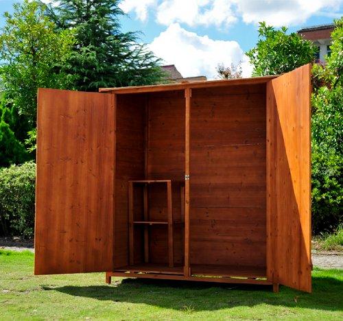Outsunny casetta per esterno in legno ripostiglio da giardino armadio esterno 159x125x65 cm - Armadi per esterno in legno ...