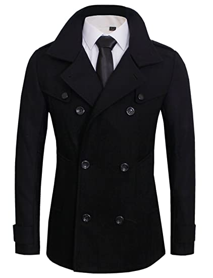 Toms Ware Mens Stylish Fashion Classic Wool Double Breasted Pea Coat