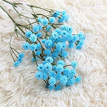 Miracliy 6pcs Gypsophila Artificial Flowers 26 Artificial Baby Breath Flowers for Wedding Party Home Decor, Blue