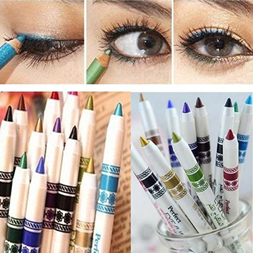 Woman Glitter Lip liner Eye Shadow Eyeliner Pen Makeup Cosmetic Sets 12 Colors