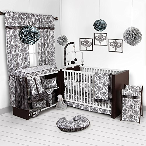 Bacati - Classic Damask White/black 10 Pc Crib Set Including Bumper Pad