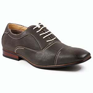 Ferro Aldo MFA-19285 Men's Charcoal Gray Cap Toe Lace Up Oxford Dress Shoes (9.5)
