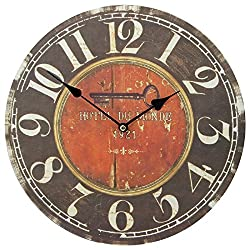 13 Wall Clock with Vintage French Hotel Du Monde Rustic Prints