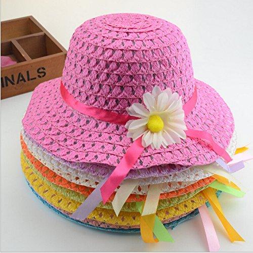 Girls-Sunflower-Straw-Tea-Party-Hat-Set-9-Pcs-Assorted-Colors
