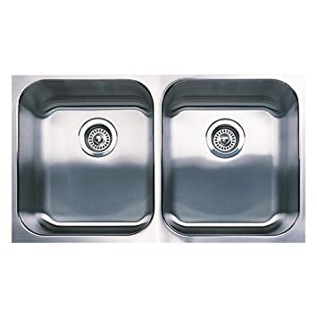 Blanco 440258 Spex Plus Equal Double Undermount Kitchen Sink, Stainless Steel