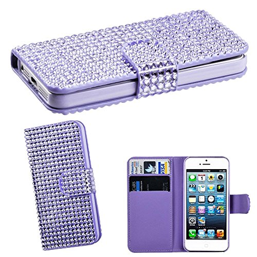 Mylife (Tm) Shimmering Lavender Purple - Rhinestone Design - Textured Koskin Faux Leather (Card And Id Holder + Magnetic Detachable Closing) Slim Wallet For Iphone 5/5S (5G) 5Th Generation Itouch Smartphone By Apple (External Rugged Synthetic Leather With