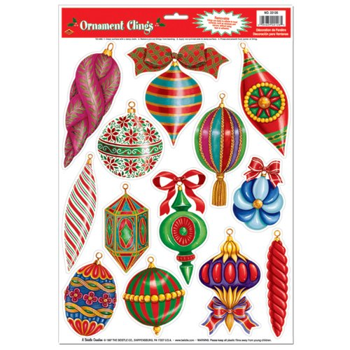 Christmas Ornament Clings Party Accessory (1 count) (13/Sh) - 1