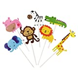 28-Pack Cute Zoo animal Cupcake Toppers Picks,Jungle Animals Cake Toppers for Kids Baby Shower Birthday Party Cake Decoration Supplies