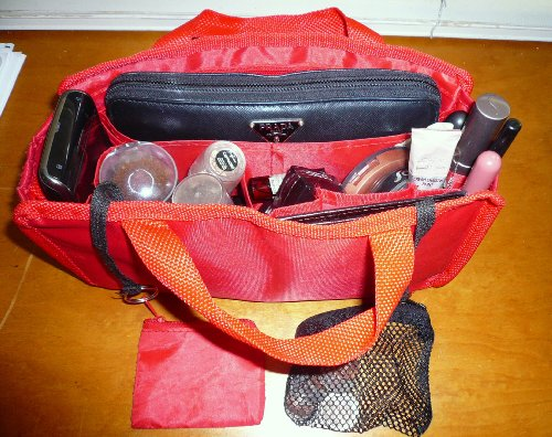 $ 13.99 FREE SHIP USA NEW RED Hand BAG Organizer/purse/tote Insert Addon Organizer -A Must for All Bags. Switch Bags in Seconds!