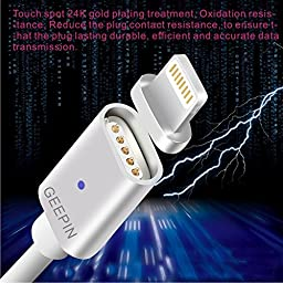 Apple Lightning to USB Magnetic Cable[Charging indicator light], GEEPIN 3.3ft High Speed and Charge USB Cable Line with Lightning Connector for iPhone 6s Plus / 6 Plus, iPad Pro, Air 2 and More