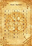 Runic Alphabet parchment poster wicca pagan print art witch magick runes ルーン文字のアルファベット羊皮紙のポスターウィッカの異教のプリントアート魔女魔術ルーン
