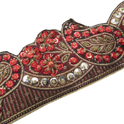 1 Y Paisley Style Red Beaded Sequin Trim Ribbon Sewing