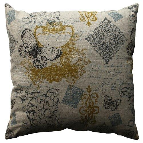 "18"" Blue Butterfly Fleur Di Lis Decorative Throw Pillow"