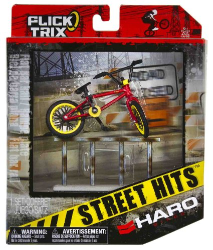 "Haro Bikes & Flat Bar Rail: Flick Trix Street Hits ~4"" BMX Finger Bike Playset"