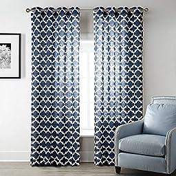 Uphome 1-Pair Quatrefoil Pattern Semi-Sheer Window Curtain Panels - Meridian Iron Grommet Top Living Room Sheer Curtains,52 x 84 Inch