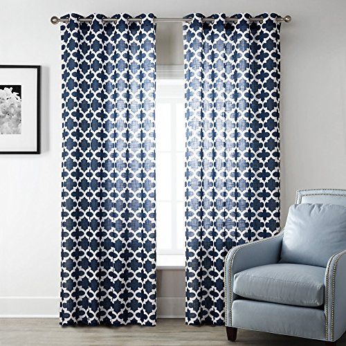 Uphome 1-Pair Quatrefoil Pattern Semi-Sheer Window Curtain Panels - Meridian Iron Grommet Top Living Room Sheer Curtains,52 x 84 Inch (Sliding Door Semi Sheer Curtains compare prices)