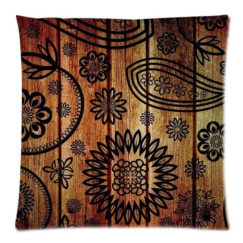 """Paisley Floral Wood Pattern Custom Zippered Pillow Cushion Case Throw Pillow Covers 18""""X18""""(Two Sides) front-976260"""