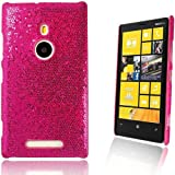HOT PINK NOKIA LUMIA 925 SPARKLING DISCO GLITTER HARD CARBON FIBER CASE COVER - Part of JJOnlineStore Accessories