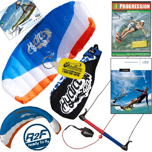 HQ Hydra II 420 V2 Kiteboarding Trainer Kite Bundle : Including Progression Beginner Kitesurfing Instructional DVD + IKO Student Handbook + WindBone Kiteboarding Key Chain : Power Foil Traction Land Snow Water Kiting (Power Kiting compare prices)