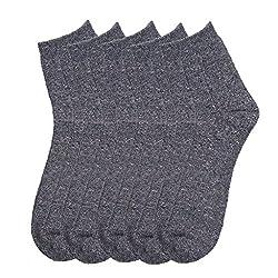 HANS Executive melange Ankle length socks for men (Pack of 5) (a5dgry_darkgrey)
