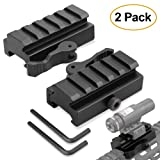 Picatinny Riser Mount, GUNPOW 2 Pack Low Profile Rail Riser Mount Adaptor with 5-Slot Picatinny Rails, QD Quick Release Lever Lock, Allen Wrenchs, For AR15 Rifle Red Dot Sight Scope Optic,1/2