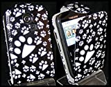 Goldstar® Flower PU Leather Flip Case Cover For Various Samsung Models, Galaxy Ace, S2, S3 Mini, Chat (Black Paw, Cha@t335 Chat S3350)