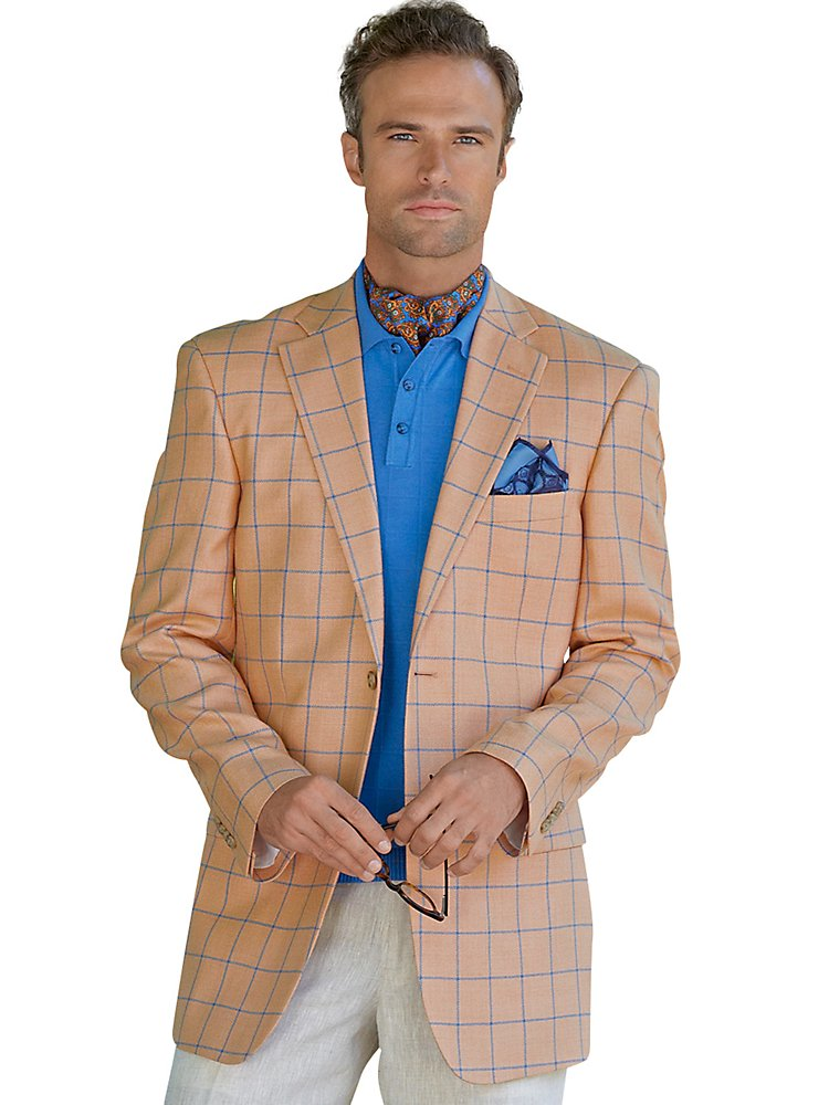 Мужской блейзер Paul Fredrick Men's Silk \ Wool Two-Button Herringbone Windowpane Sport Coat