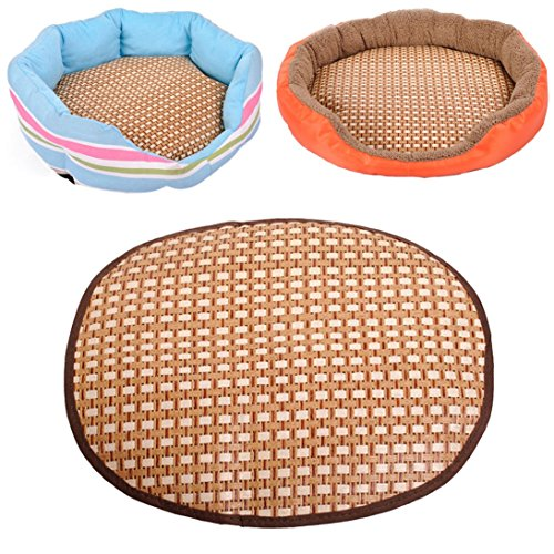 Sunward 2015 Comfortable Cool Summer Pet Bed Round Cat Dog Straw Bamboo Mat (L)