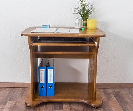 Schreibtisch Kiefer massiv Vollholz Eichefarben 006 - Abmessung 74 x 80 x 60 cm (H x B x T)