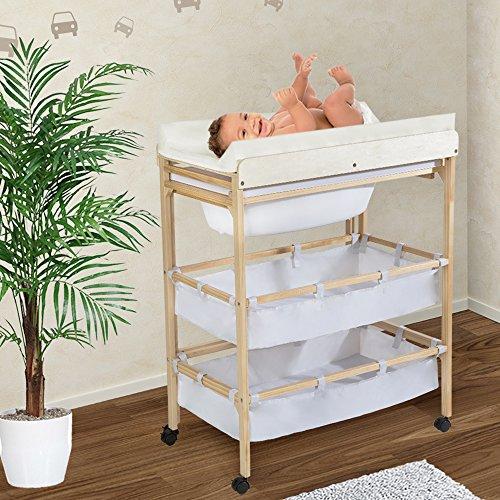 Tectake cambiador con ba era extra da para beb s mueble - Baneras mueble bebe ...