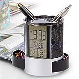 Sixinu Digital LCD Desk Alarm Clock & Mesh Rulers Pen Pencil Holder Time Temp Calendar (Color: Black)