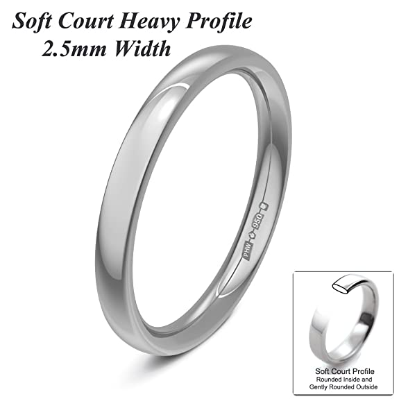 Xzara Jewellery - Platinum 2.5mm Heavy Court Profile Hallmarked Ladies/Gents 4.0 Grams Wedding Ring Band