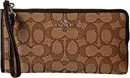 COACH Women\'s Signature Zip Wallet LI/Khaki/Brown Clutch
