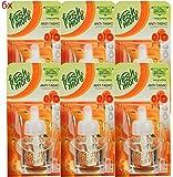 6x Fresh&More Nachfüller für Airwick Duftstecker Nachfüllflakon Anti Tabak - Cedar & Orange - 19ml