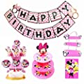 Yunko 40 Pcs Minnie Mouse Theme Baby&Children's Birthday Party Supplies(Banner,Tablecover,Doorplate,Wrappers,Toppers&Cake Stand Party Favors)