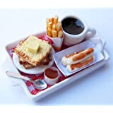 Dollhouse Miniature Food Set Pancake ,French Fries and Coffee, Barbie Food Sets,Barbie Collectibles