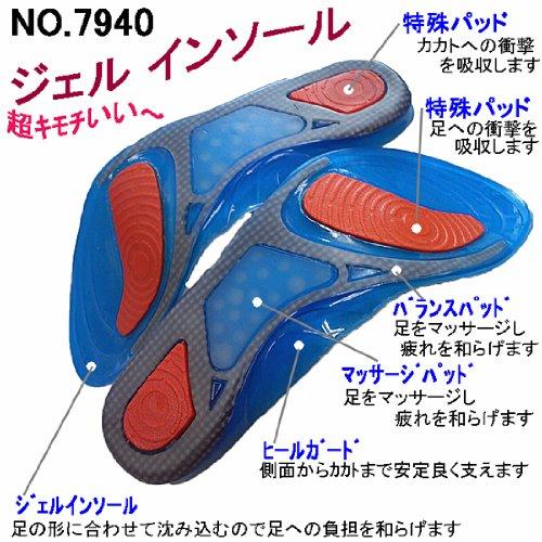 足の形に合わせて沈み込み足への負担を和らげる! 7940 ジェル インソール 【マッサージ パッド付】