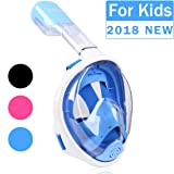 TriMagic Snorkel Mask, 180° Panoramic Full Face Design with Larger Viewing Area - Easier Breathing and GoPro Compatible with Anti-Fog and Anti-Leak, for Both Kids and Adult