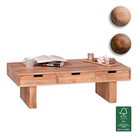 FineBuy Couchtisch Massivholz Design Wohnzimmer-Tisch 110 x 60 cm 3 Schubladen Landhaus-Stil Holztisch rechteckig Natur-Produkt Massiv-Holz-Tisch Wohnzimmer-Möbel mit Funktion und Stauraum