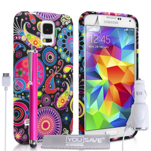 Yousave Accessories Samsung Galaxy S5 Case Jellyfish Silicone Gel Cover With Stylus Pen And Car Charger front-838163