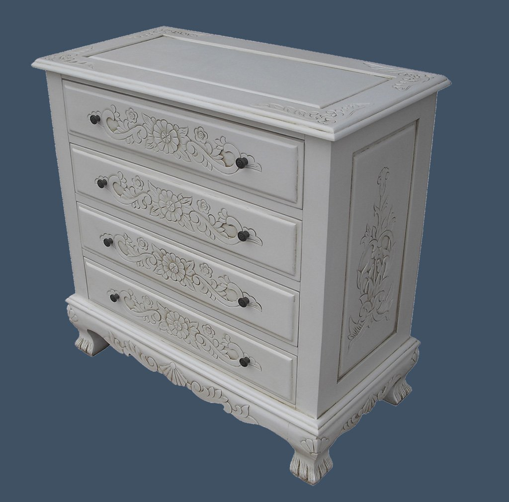 French Furniture, Solid Wood Handcarved Chest of Drawers in Antique White Finish, Shabby Chic Furniture       Customer reviews and more information