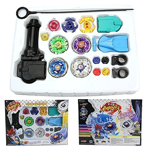 [New Fusion Top Metal Master Rapidity Fight Rare Beyblade 4D Launcher Grip Set + LAUNCHER + fabric bag Beyblade] (Child Blue Stealth Ninja Costumes)