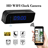 Wi-Fi Hidden Clock Camera,Haoweiming 32G wireless Mini Security Camera Rechargeable Alarm Night Vision/Motion Detection for Home Security (FULL HD 1080P)