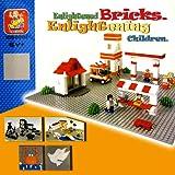 "2-Pack Lego Compatible Baseplate Large Grey Building Base Plate 15"" X 15"" Enlightened Bricks"