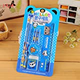 Fashion Cartoon Cute 5 in 1 Stationery Set for child PencilsRulerEraserSharpenerCap of a pen school Educational Supplies