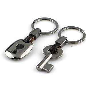 1142ca11bd5cc MAYCOM Creative Fashion Leather Couple Keychain Key Chain Ring Keyring Key  Fob Key   Lock 83513-1(Gunmetal ...