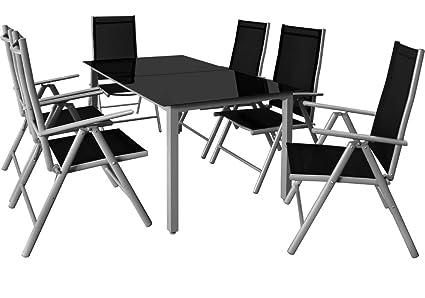 Deuba® 6+1 Sitzgruppe Alu Sitzgarnitur Gartenmöbel Gartenset Essgruppe Gartengarnitur Klappstuhl ✔6 verstellbare Stuhle ✔Tisch höhenverstellbar ✔wetterfest Drinnen & Draußen ✔Modellauswahl