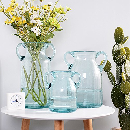 Blue Glass Vases Ears White Modern Minimalist Home Decorations Water Paiwha Is Living Room Creative Large Flower Arrangement, No Flowers