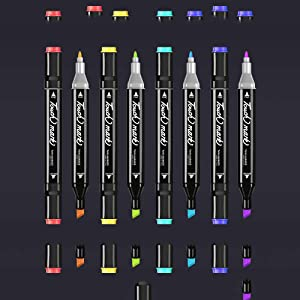 Professional Graphic Marker Pen Double Ended Finecolour Marker Broad and Fine Point Tip with Black Bag (Color: Interior Design 80 Color)